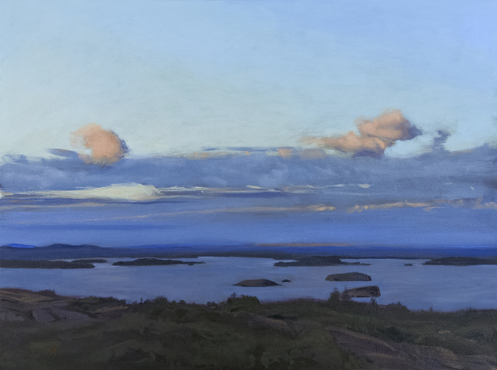 """Clouds over Frenchman Bay,"" oil on canvas, 30 x 40"""