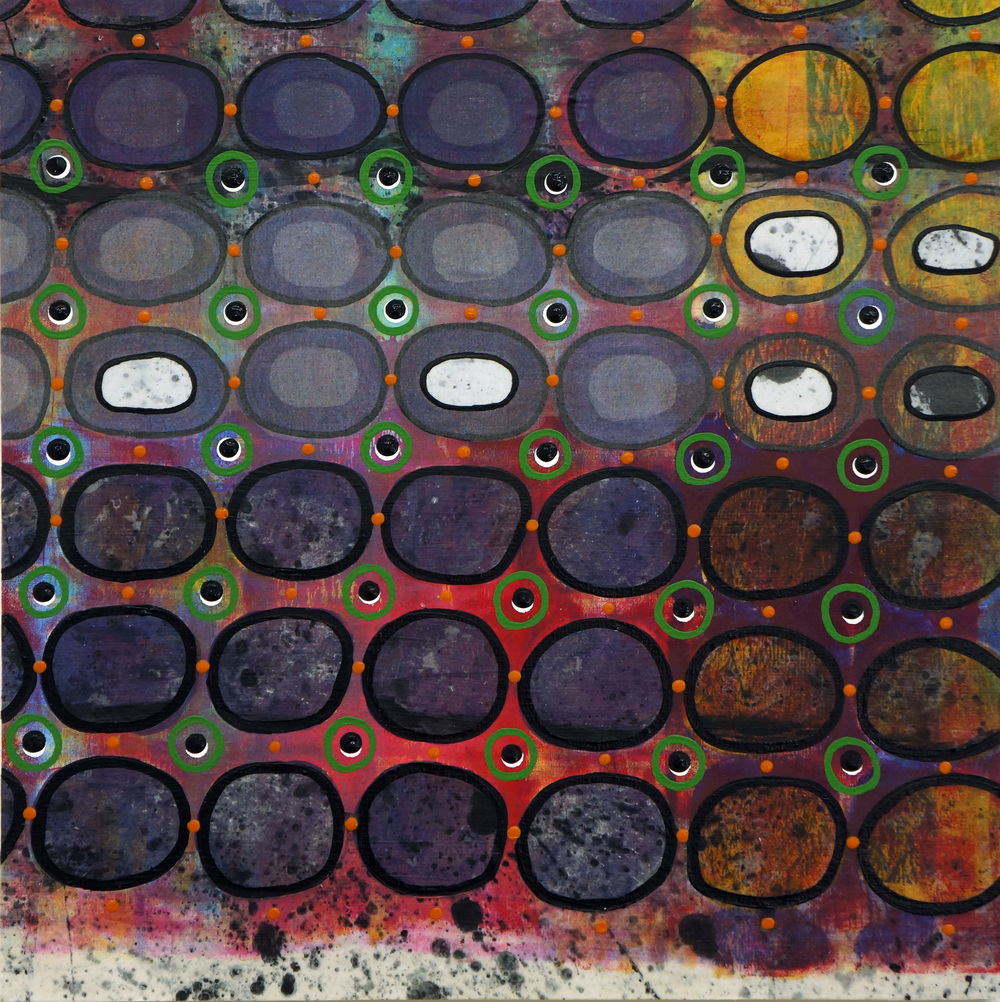 """Jeanne Williamson, Bubbles and Cracks on Ice on Fences #8 , mixed media on cradled board, 14x14,"""" $950"""