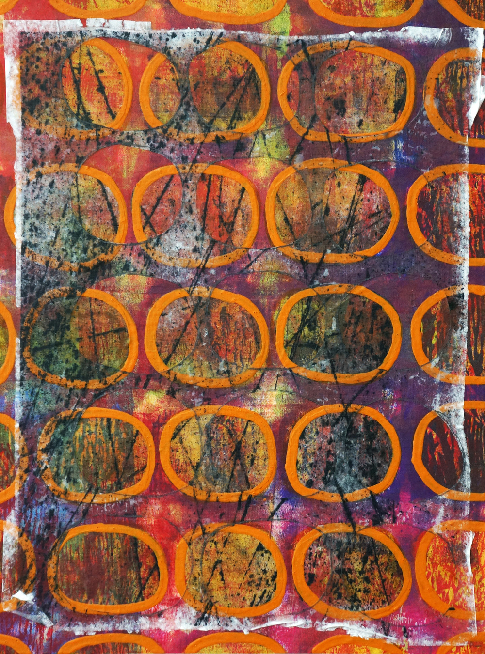 "Jeanne Williamson,  Bubbles and Cracks on Ice on Fences #11 , mixed media on cradled board, 14x14,""  $950"