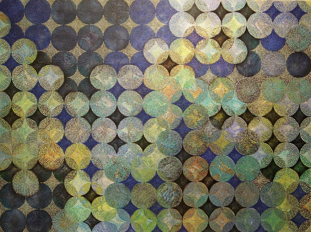 "Denise Driscoll,  Circles 15 , acrylic on panel, 36x48,"" $5,200"