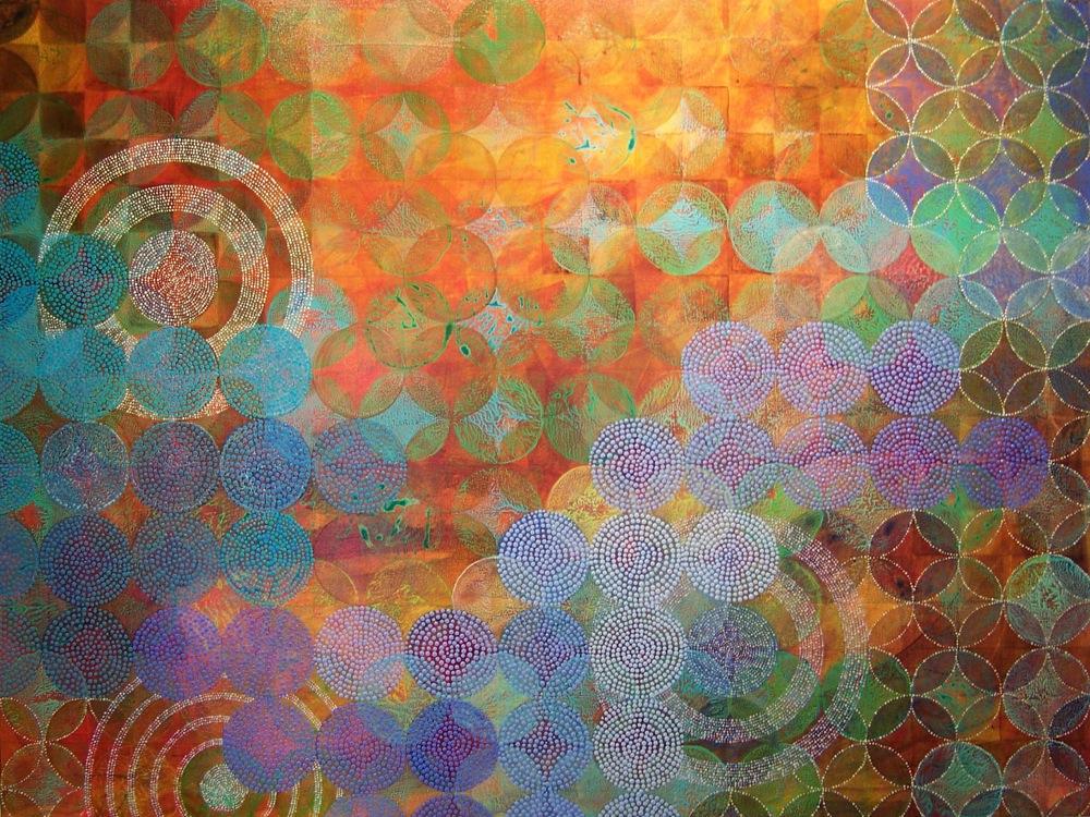 "Denise Driscoll ,  Circles 22 , acrylic on panel, 36x48,"" $5,800"