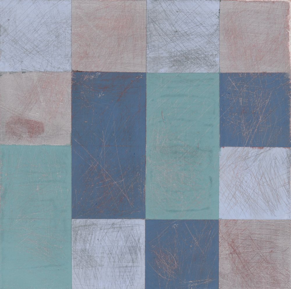 """Denise Driscoll,  Encoded 6,  acrylic on panel, 8x8,"""" $200"""