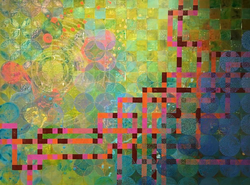 "Denise Driscoll,  Circles 33 , acrylic on panel, 8x8,"" $5,200"