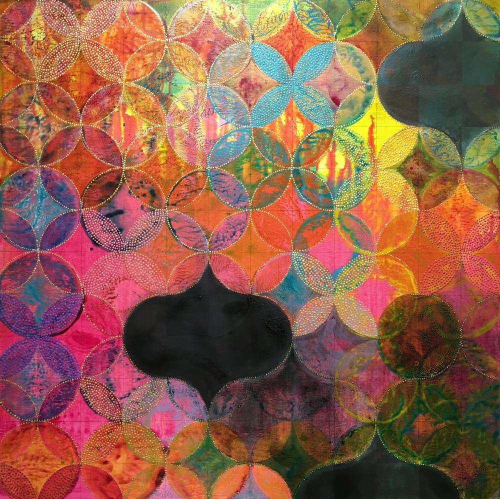 "Denise Driscoll,  Circles 34 , acrylic on panel, 8x8,"" $1,800"