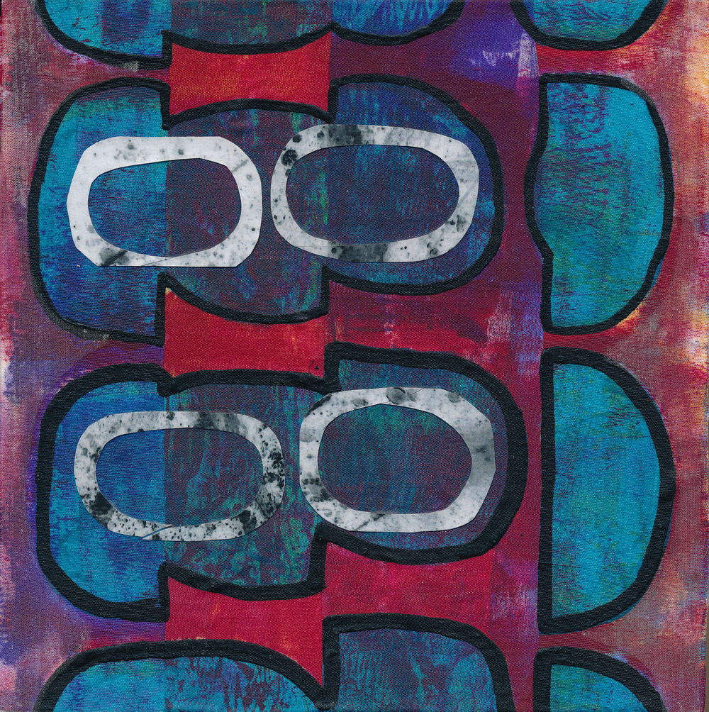 """Jeanne Williamson,  Fragments from Ice on Fences #6 , mixed media on board, 6x6,"""" $125"""