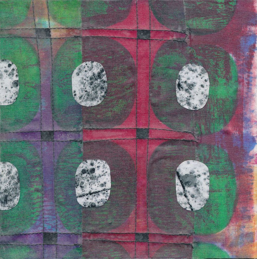 Jeanne Williamson,  Fragments from Ice on Fences #14 , mixed media on board, 6x6