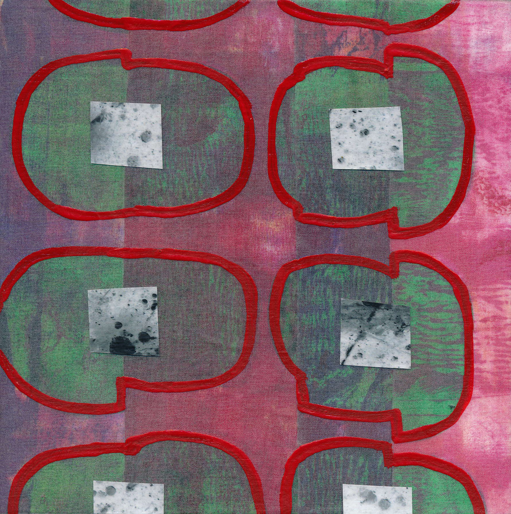 "Jeanne Williamson,  Fragments from Ice on Fences #15 , mixed media on board, 6x6,"" $125"