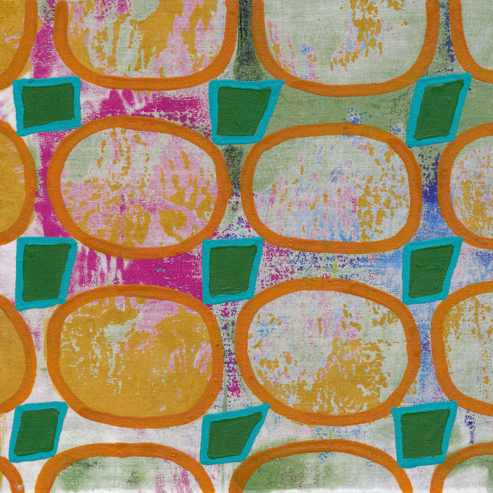 """Jeanne Williamson,  Fragments from Ice on Fences #17 , mixed media on board, 6x6,"""" $125"""