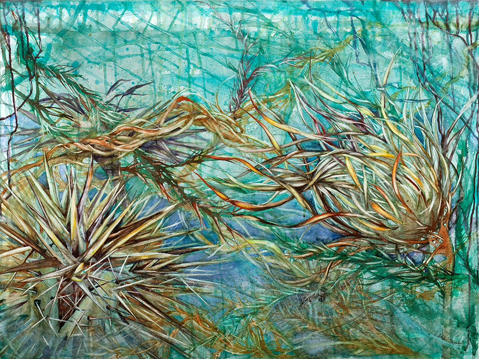 Sarah Alexander ,  Undertow , watercolor on canvas, 40x30,  $2,000
