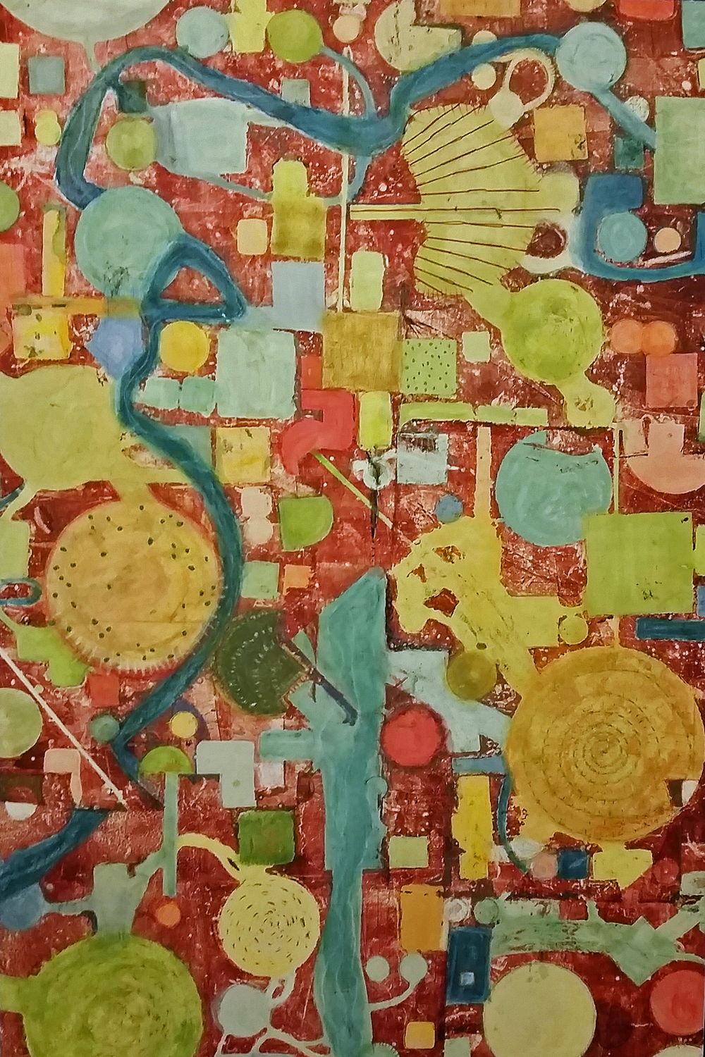 Lisa Barthelson ,  Nebraska High 2 , mixed media with thread on panel, 36x24,  $1,875