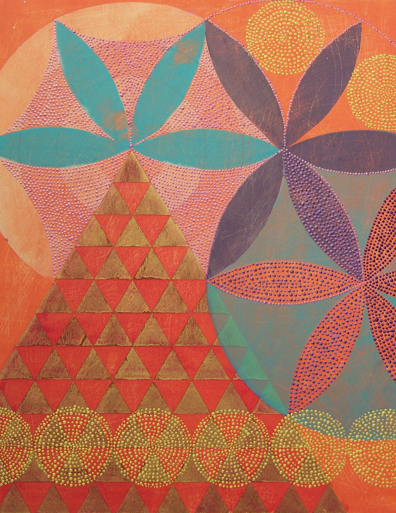 Denise Driscoll ,  Triangles 5 , acrylic on panel, 18x14