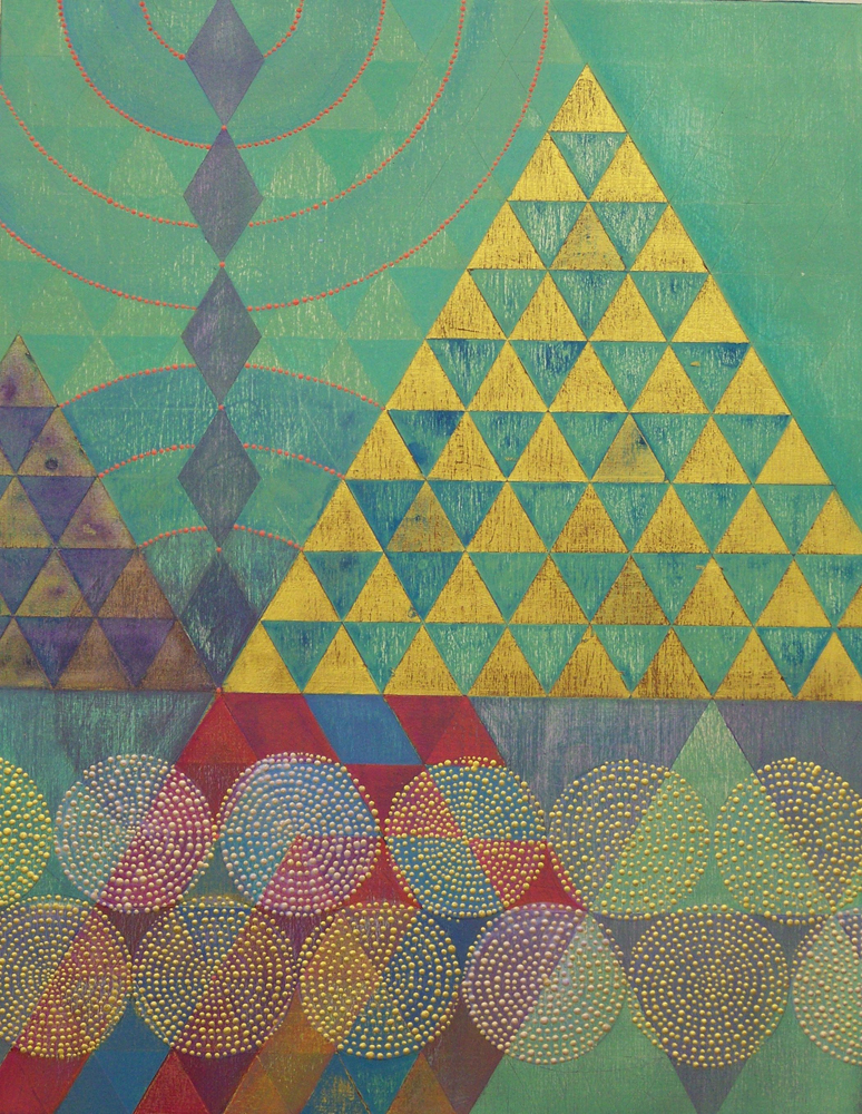 Denise Driscoll ,  Triangles 6 , acrylic on panel, 18x14,  $750