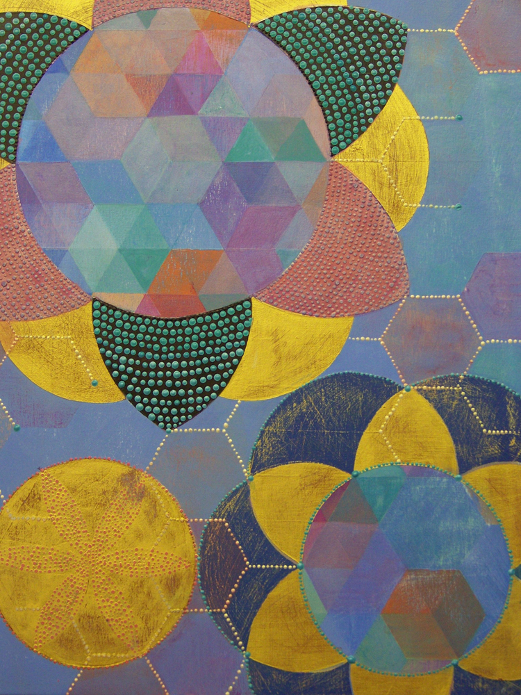 Denise Driscoll ,  Triangles 7 , acrylic on panel, 18x14,  $750