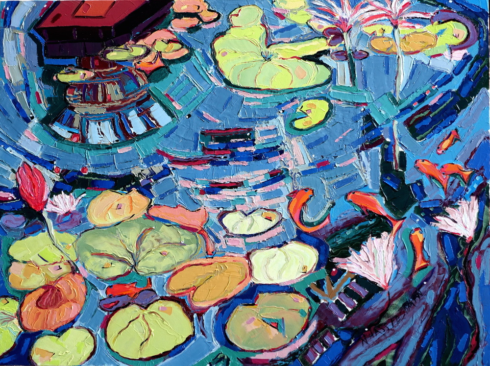 Nan Hass Feldman ,  Into the Pond 2 , oil on canvas, 30x40