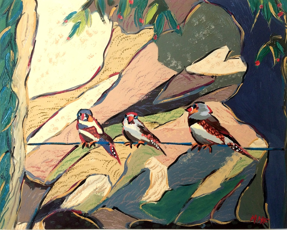 Nan Hass Feldman ,  Birds Down Under 3 , oil on panel, 8x10,   Sold