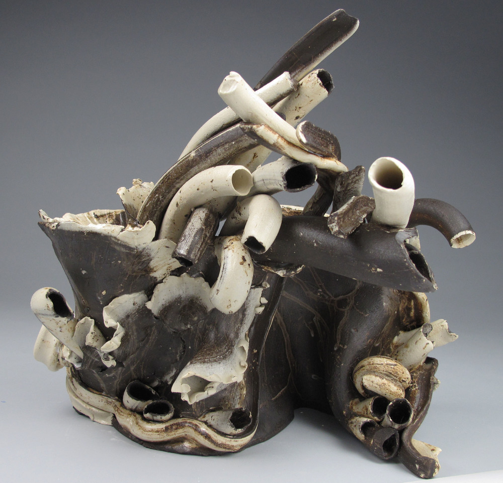 Sara Fine-Wilson ,  Forward Fold , mixed ceramic, 12x10x8,  $1400