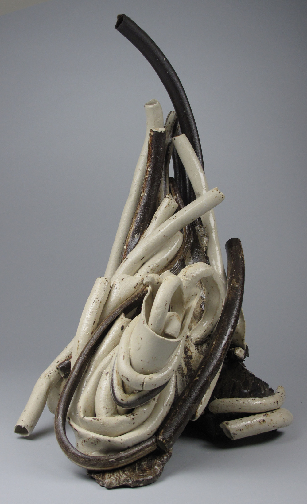 Sara Fine-Wilson ,  Rickety , mixed ceramic, 14x12x18