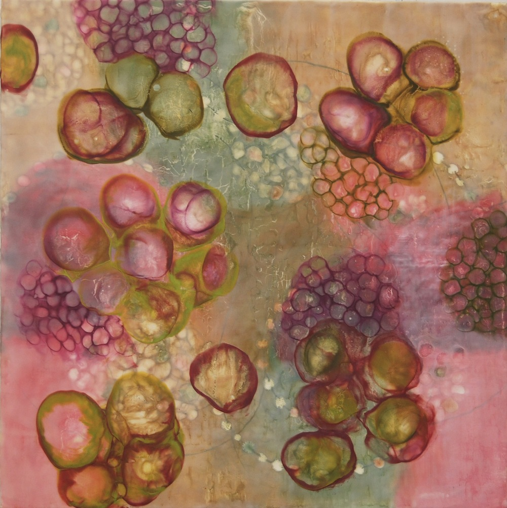Kay Hartung ,  Bio Flow 5 , encaustic, pastel, pigment stick on panel, 30x30,  $1800