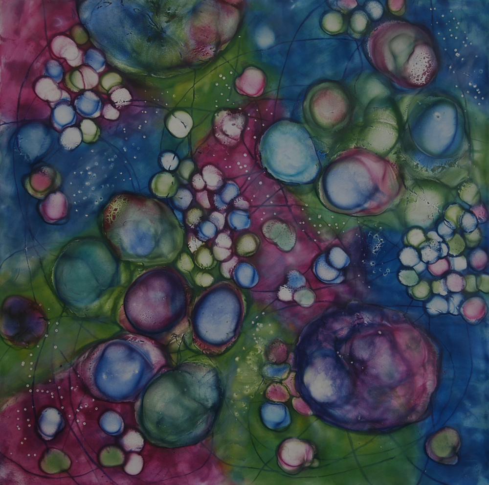 Kay Hartung ,  Bio Flow 6 , encaustic, pastel on panel, 20x20,  $950