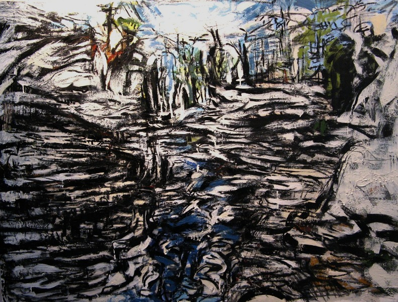 Iris Osterman ,  Gorge , oil/encaustic, 42x33,  $2,000
