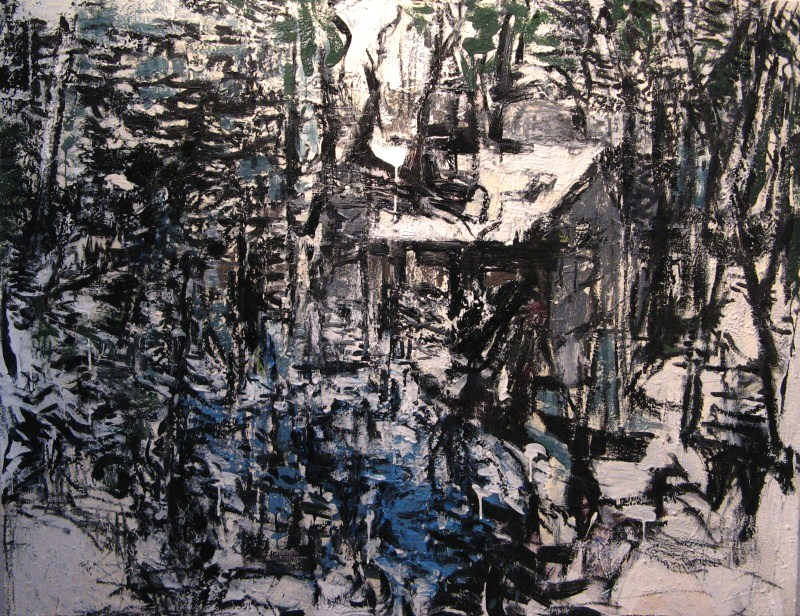 Iris Osterman ,  House in the Woods,  oil/encaustic, 48x40,  $2,500