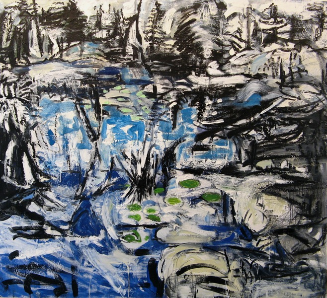 Iris Osterman ,  Pond , oil/encaustic, 42x38,  $1,800