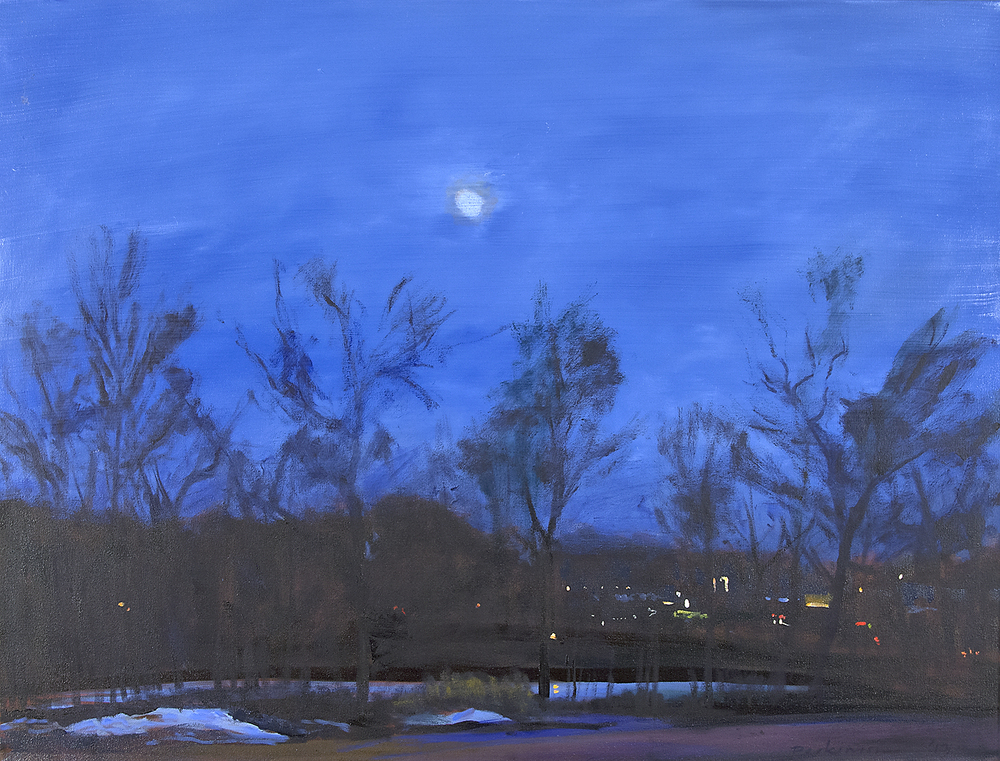Roy Perkinson,  Moon, Farm Pond , oil on canvas, 30x40