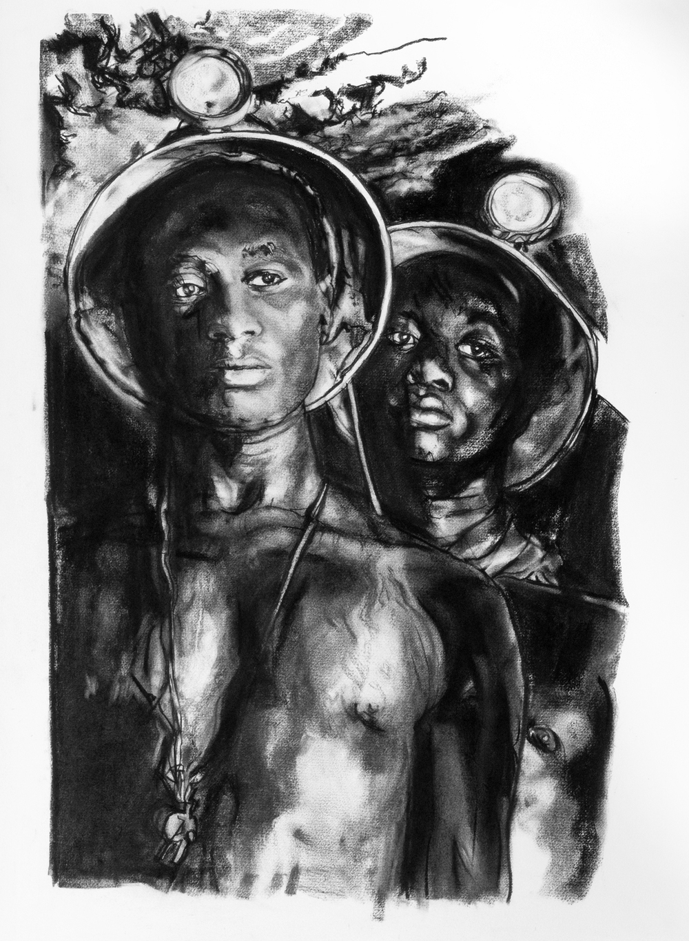 Mary Spencer ,  Homage to Margaret Bourke-White,  charcoal on rag paper, 30x22,  $2,000