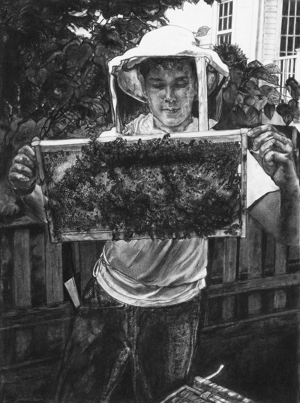 Mary Spencer ,  Seth with Honey Bees , charcoal on rag paper, 30x22