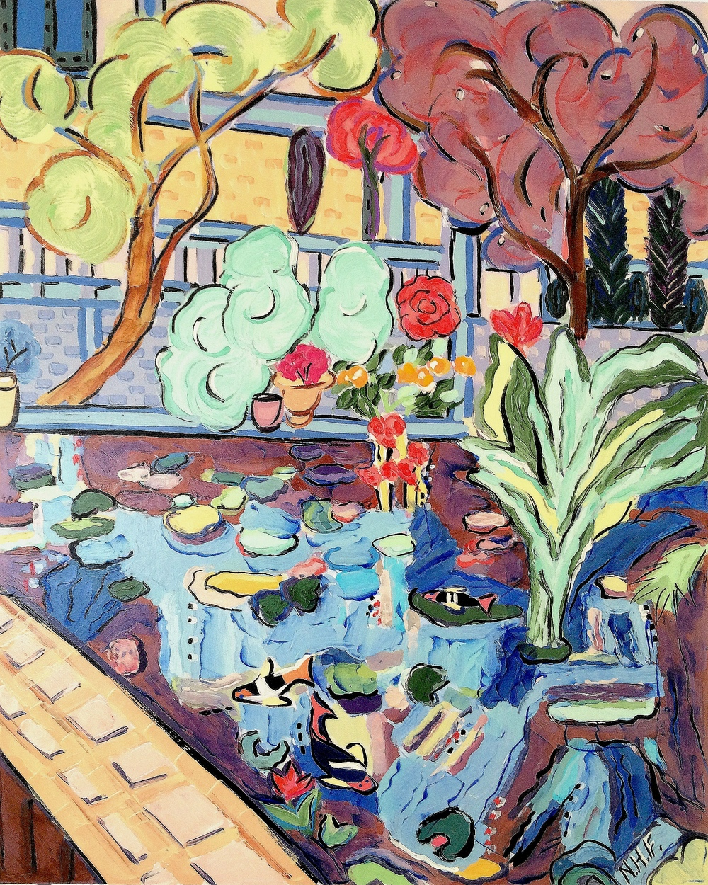 At the Border of the Lily Pond 2 , acrylic on mounted board, 18x15, 22x20 matted, $775