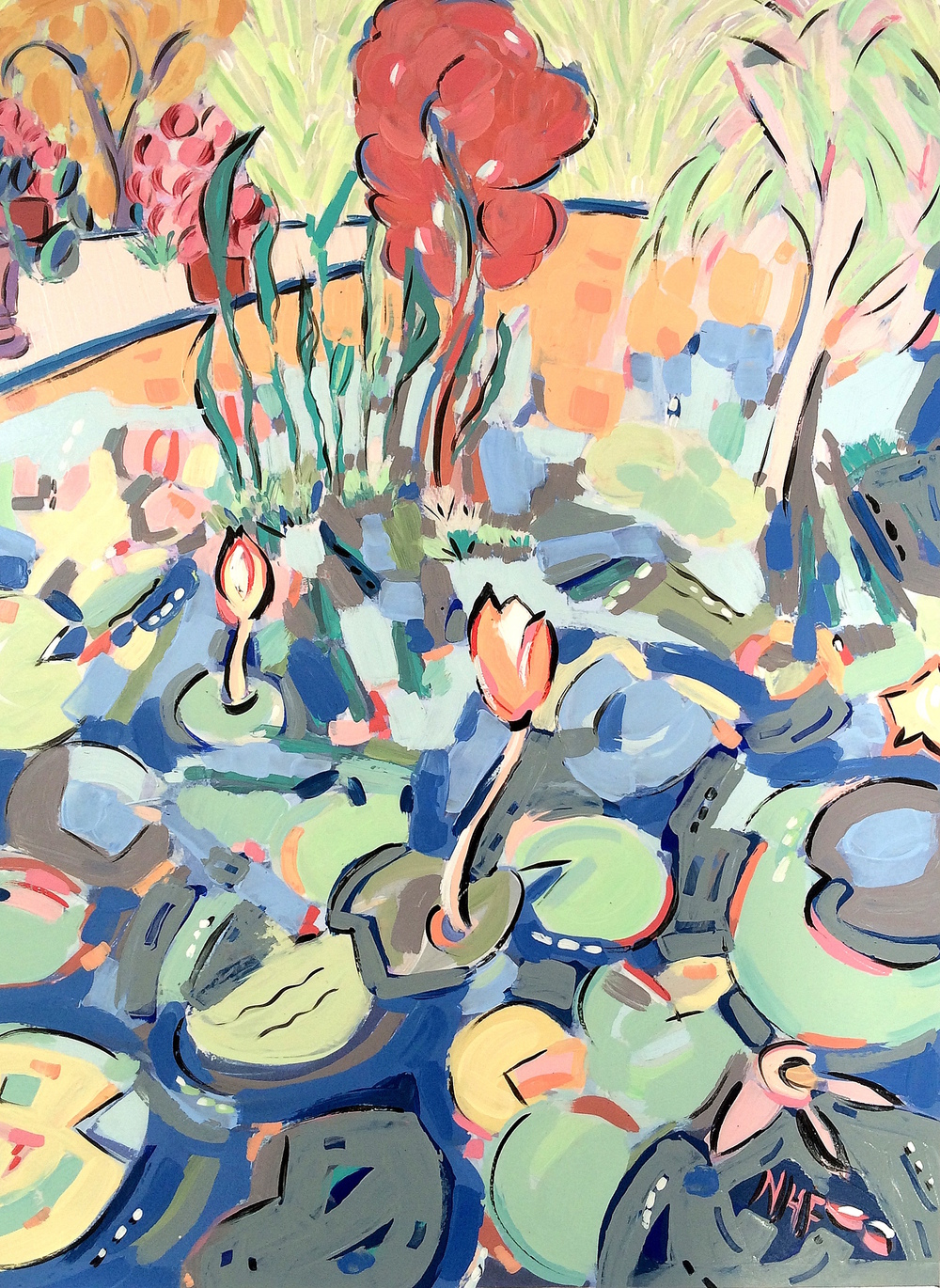 Water Lilies in the Botanical Gardens 2 , acrylic on mounted board, 18x15, 22x20 matted, $775