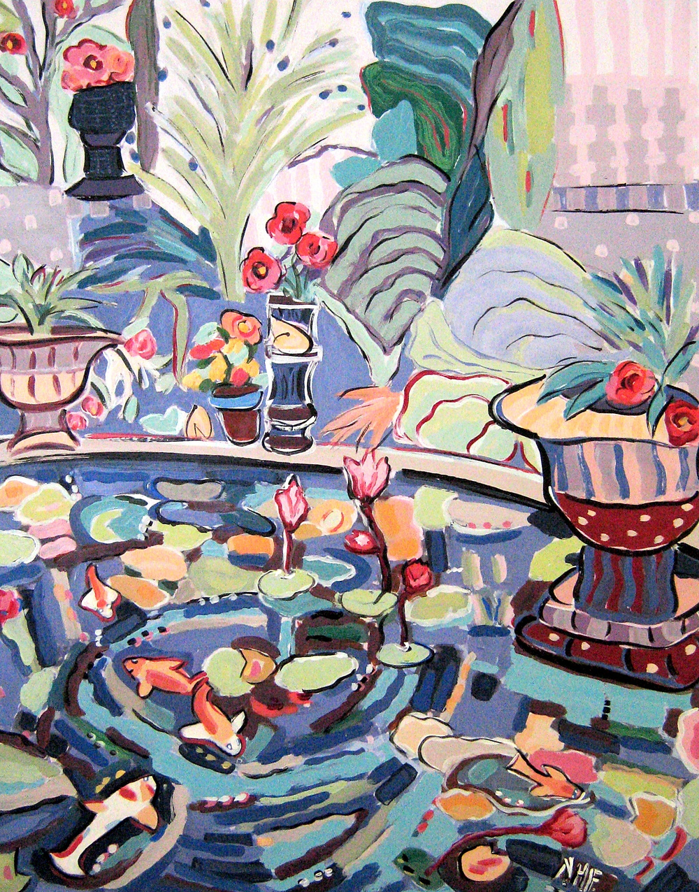 Stone Urns by the Lily Pond 2 , acrylic on mounted board, 18x15, 22x20 matted, $775
