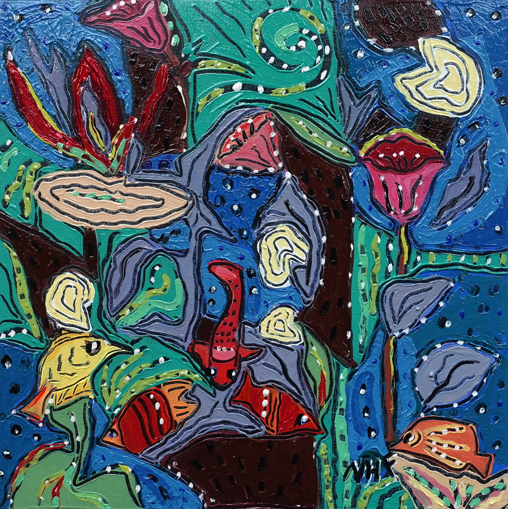 Swimming with Fishes 3 , oil on panel 8x8, $675