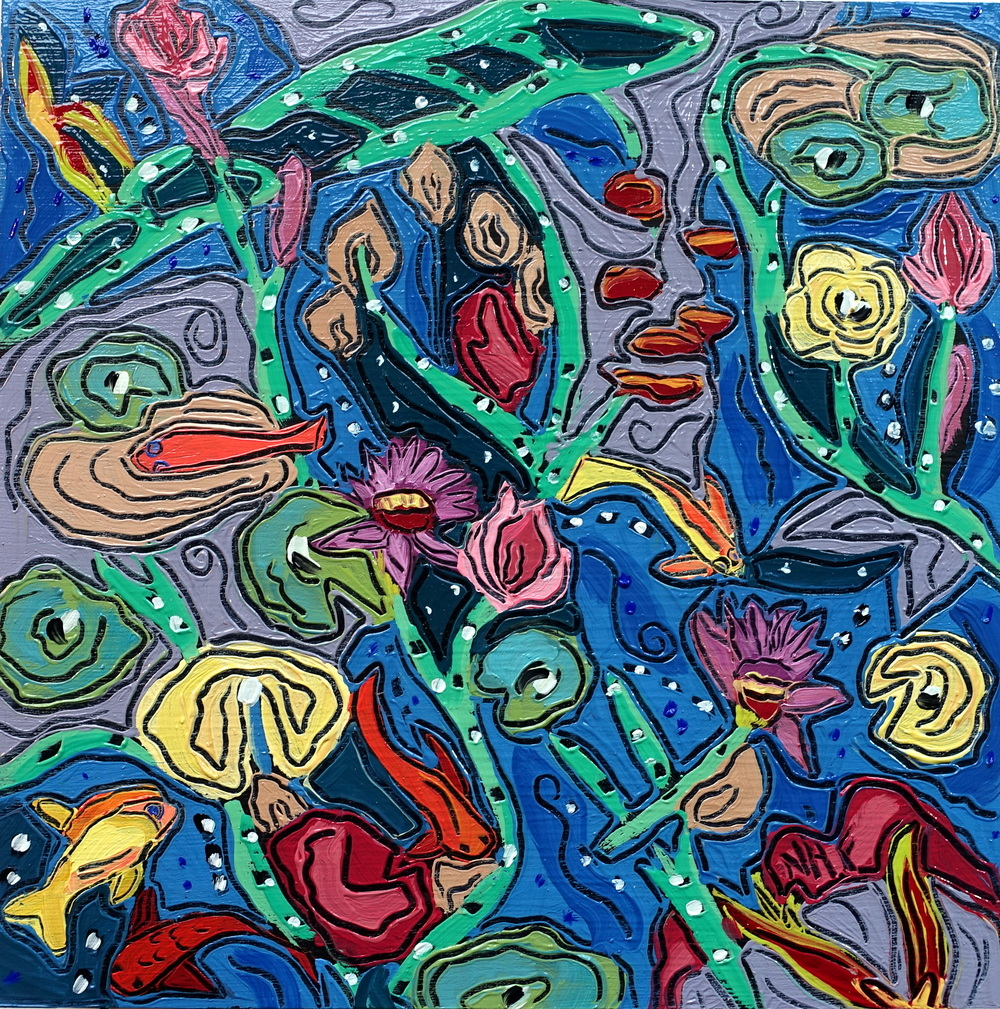 Swimming with Fishes 4 , oil on panel 8x8, $675
