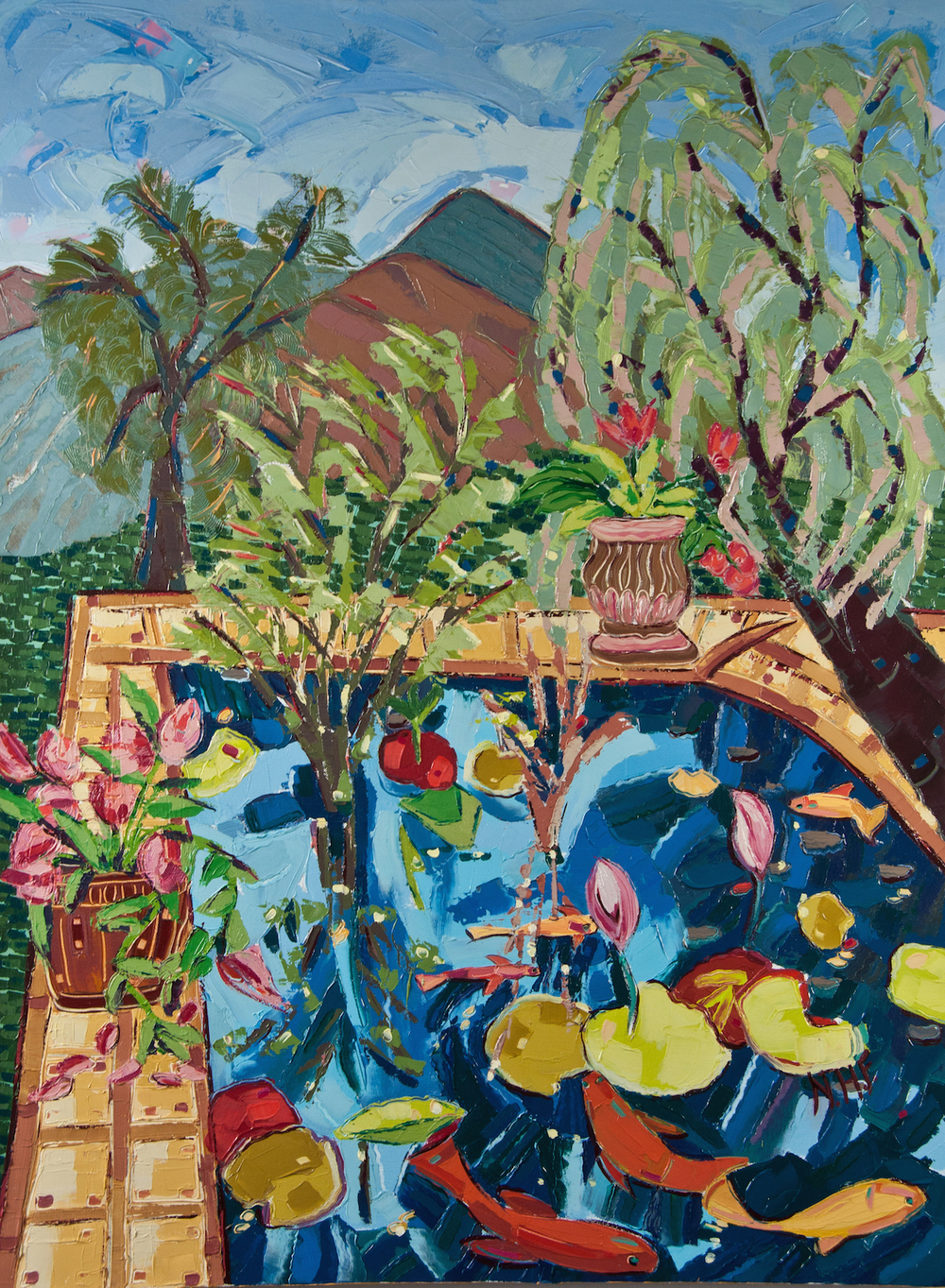 Lily Pond in the Mountains , oil on canvas, 40x30, $3,975
