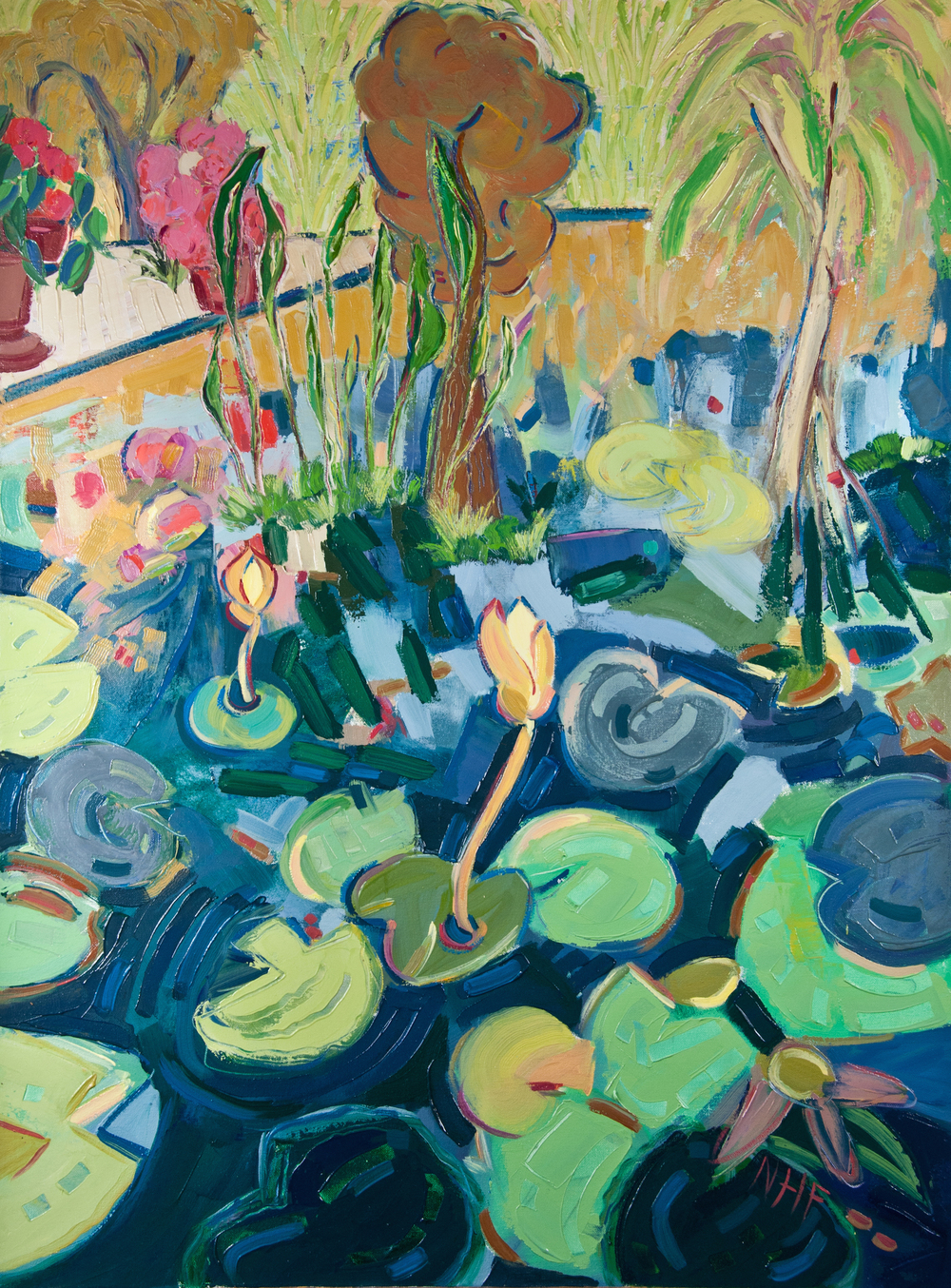 Water Lilies in the Botanical Gardens , oil on canvas, 40x30, $3,975