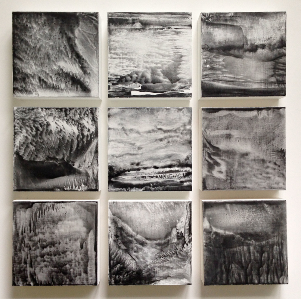 Evolve (Part 1)  encaustic on gessoed braced wood panels, 9 panels, each 6x6, $1,700