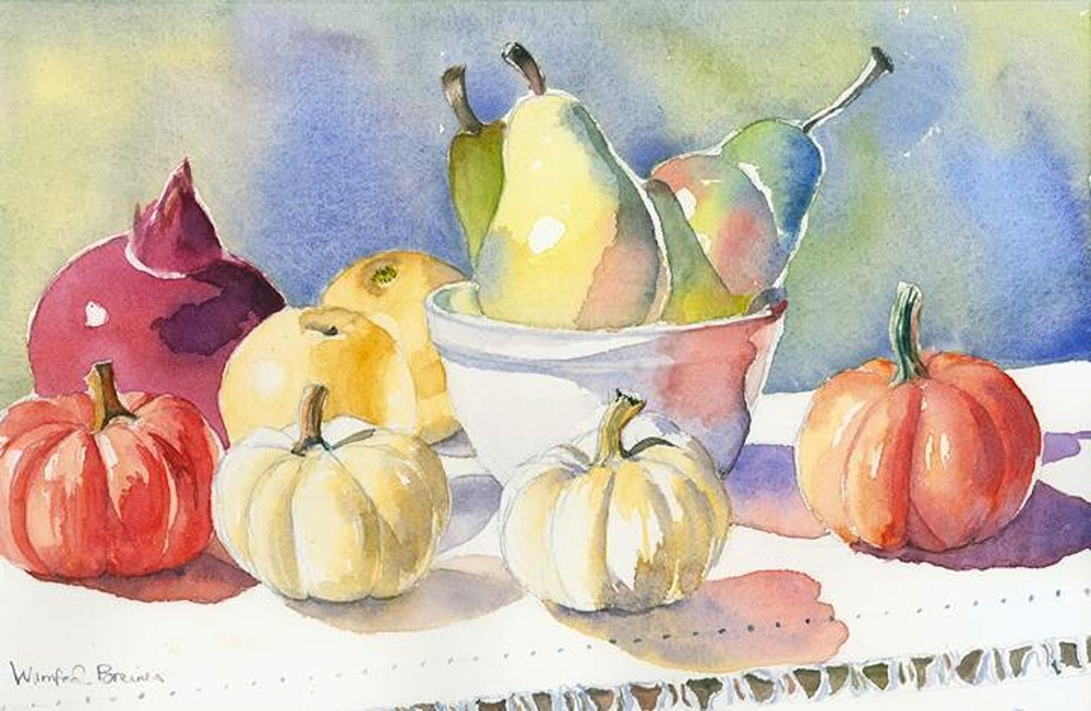 Winifred Breines,   Fall Fruits and Vegetables,   watercolor, 15.5x10, $750