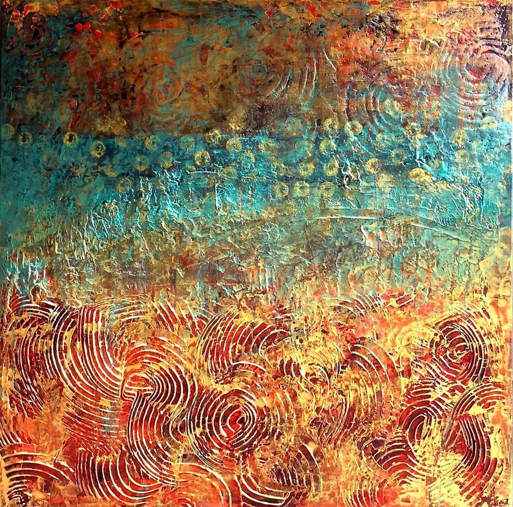 Debra Corbett,   Venice   , Acrylic mixed media..paint, plaster, graphite 30x30