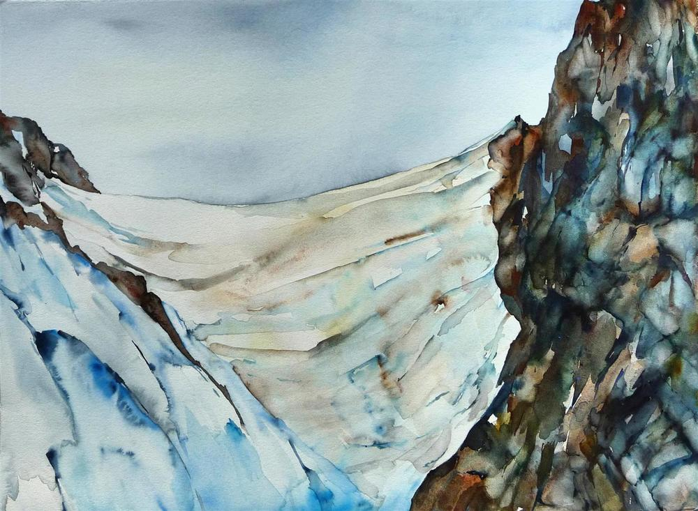 Lisa Goren,   The Weight of the Ice  , watercolor, 32x25, $1,100