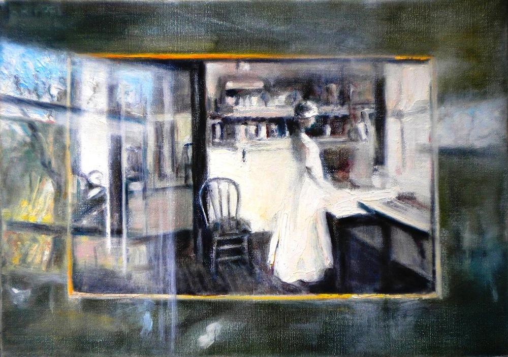 Beverly Rippel,   Ten Past (John's Mother,)   oils, 14x10, $1,450