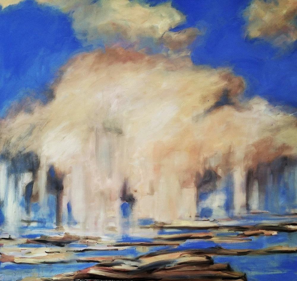 Lully Schwartz,   Rain   , oil on linen, 36x36, $5300