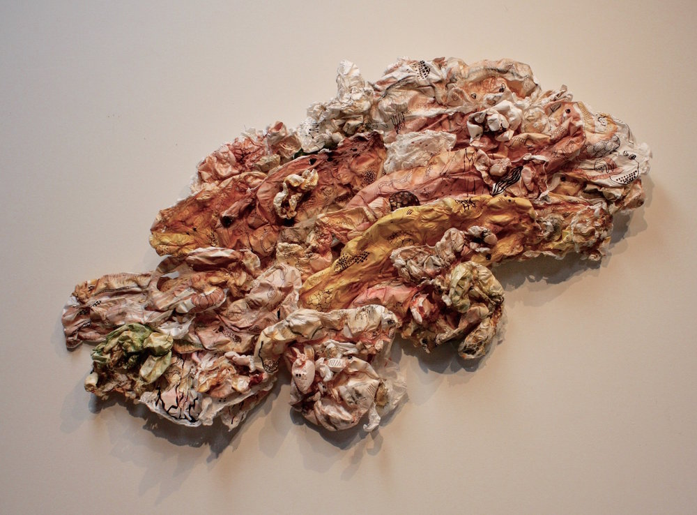 "Flesh and Bone , acrylic on cut and molded Tyvek; mixed media, 51"" x 38"" (approx.)"