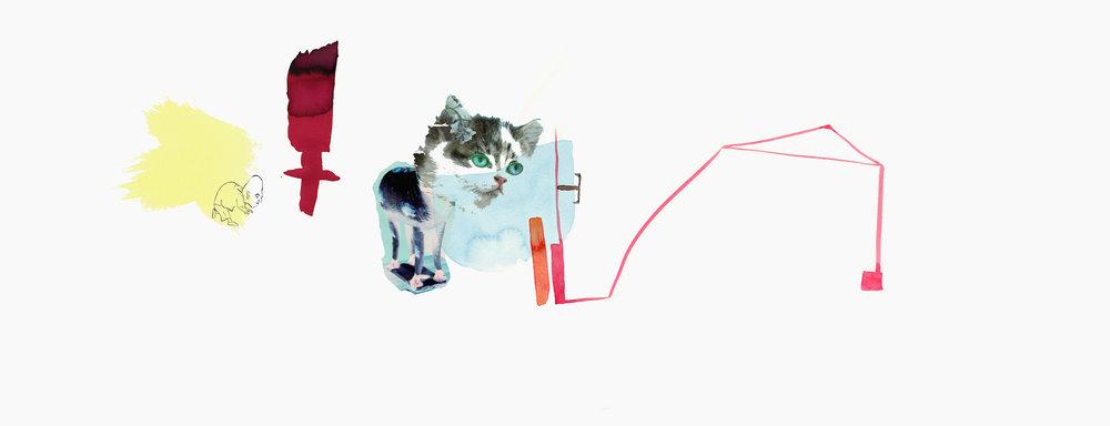 Feline Arena (Summer,) archival pigment print on watercolor paper, 39x15, unique, $975