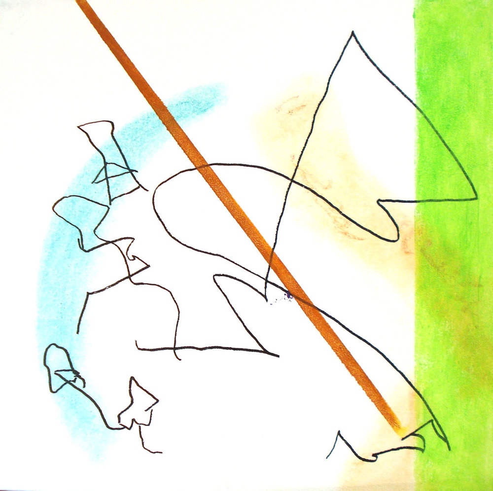 Pounce , mixed media on canvas, 16x16, $600