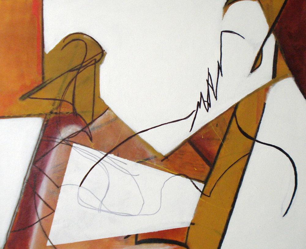 Raprochement , mixed media on canvas, 20x24, $900