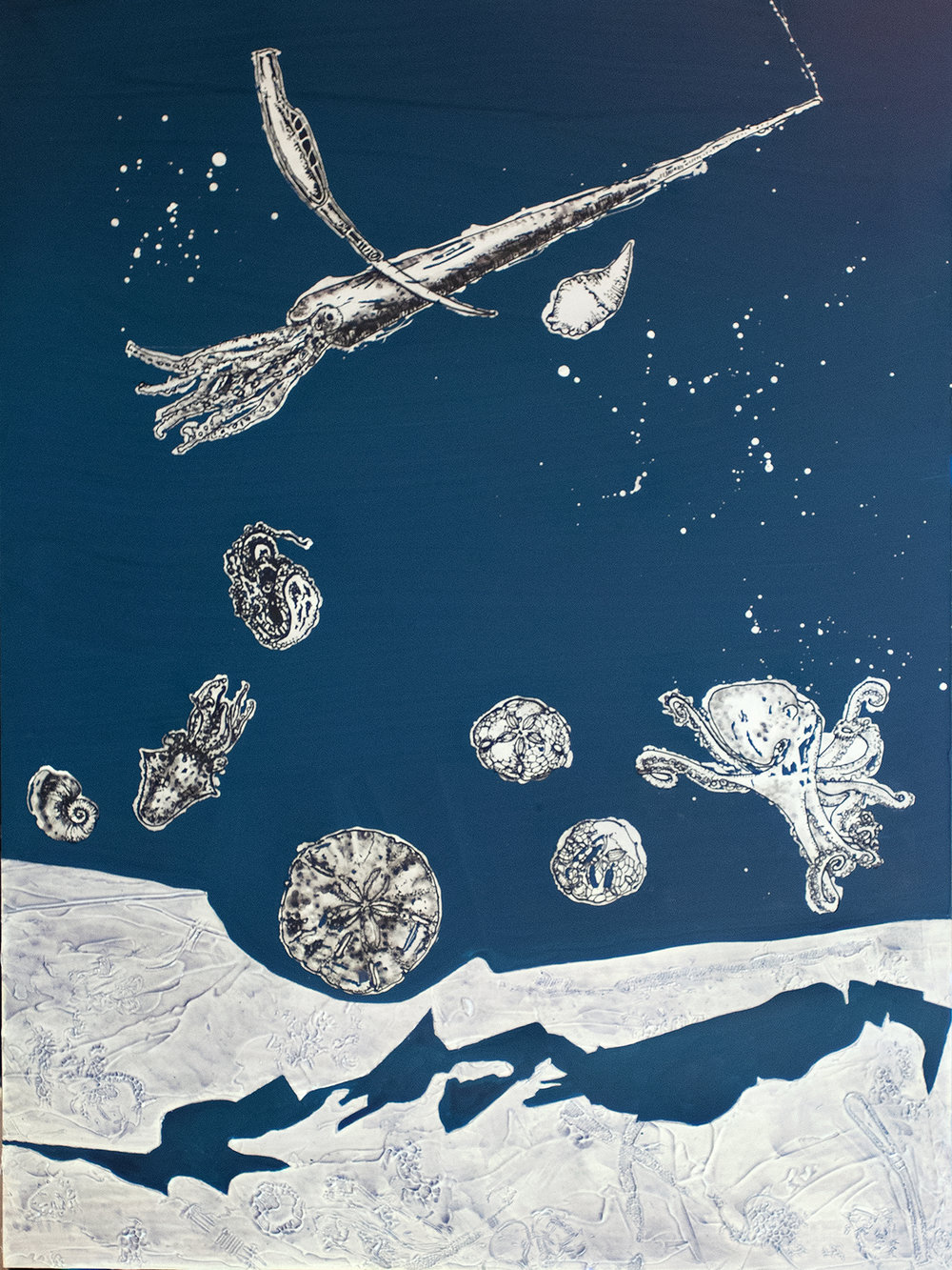 Sand Dollars and Ice Age Pals,  acrylic on panel, 24x18, $!,200
