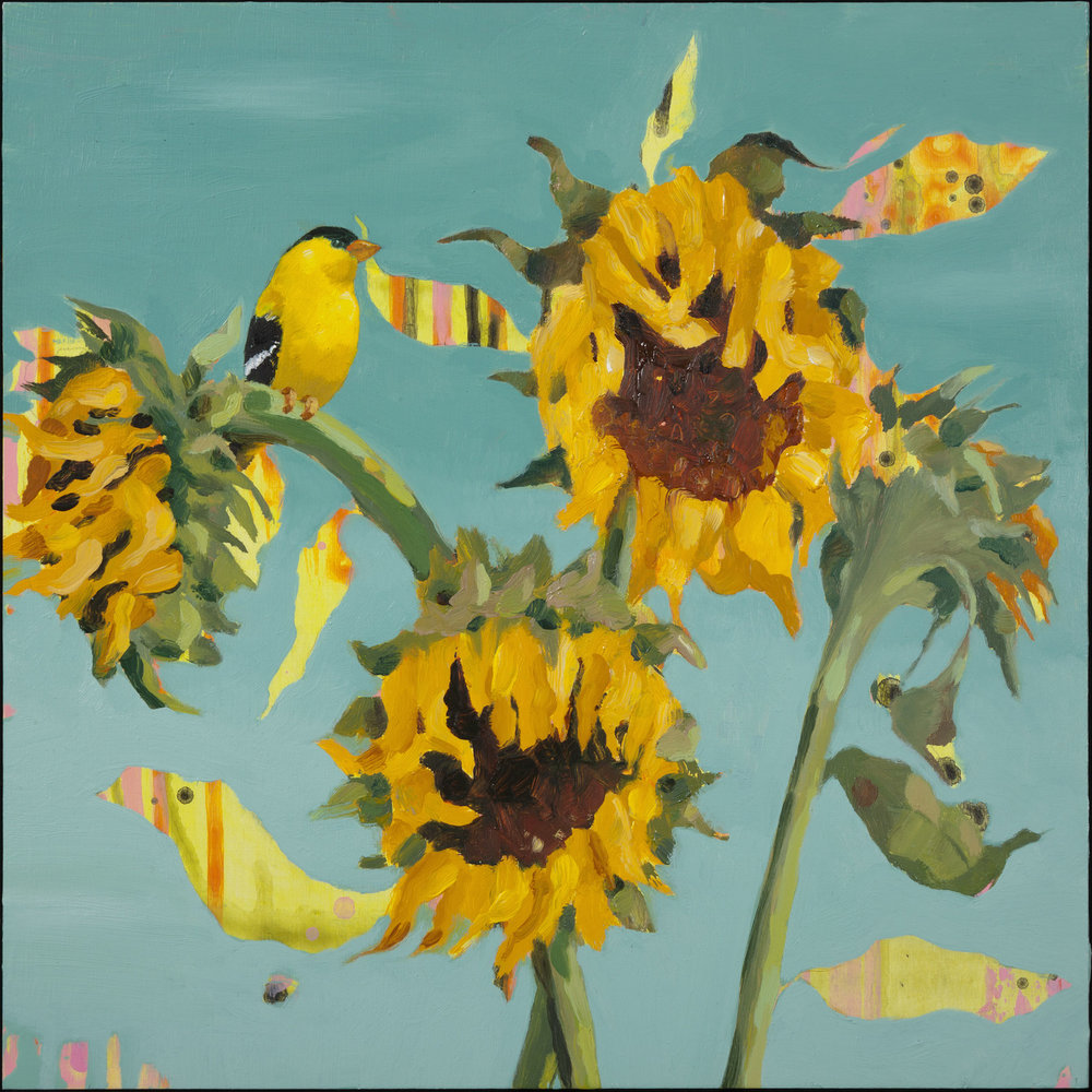 "Anne Sargent Walker ,  Four Sunflowers , Oil, acrylic on wood panel, 12"" x 12"", $850"