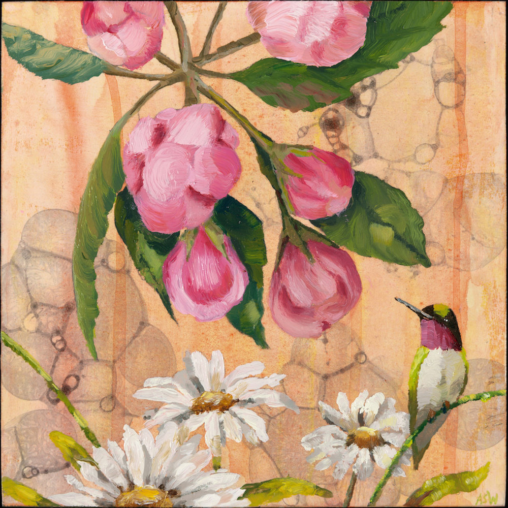 "Anne Sargent Walker ,  Hummingbird with Flowers,  Oil, acrylic on wood panel, 8"" x 8"""