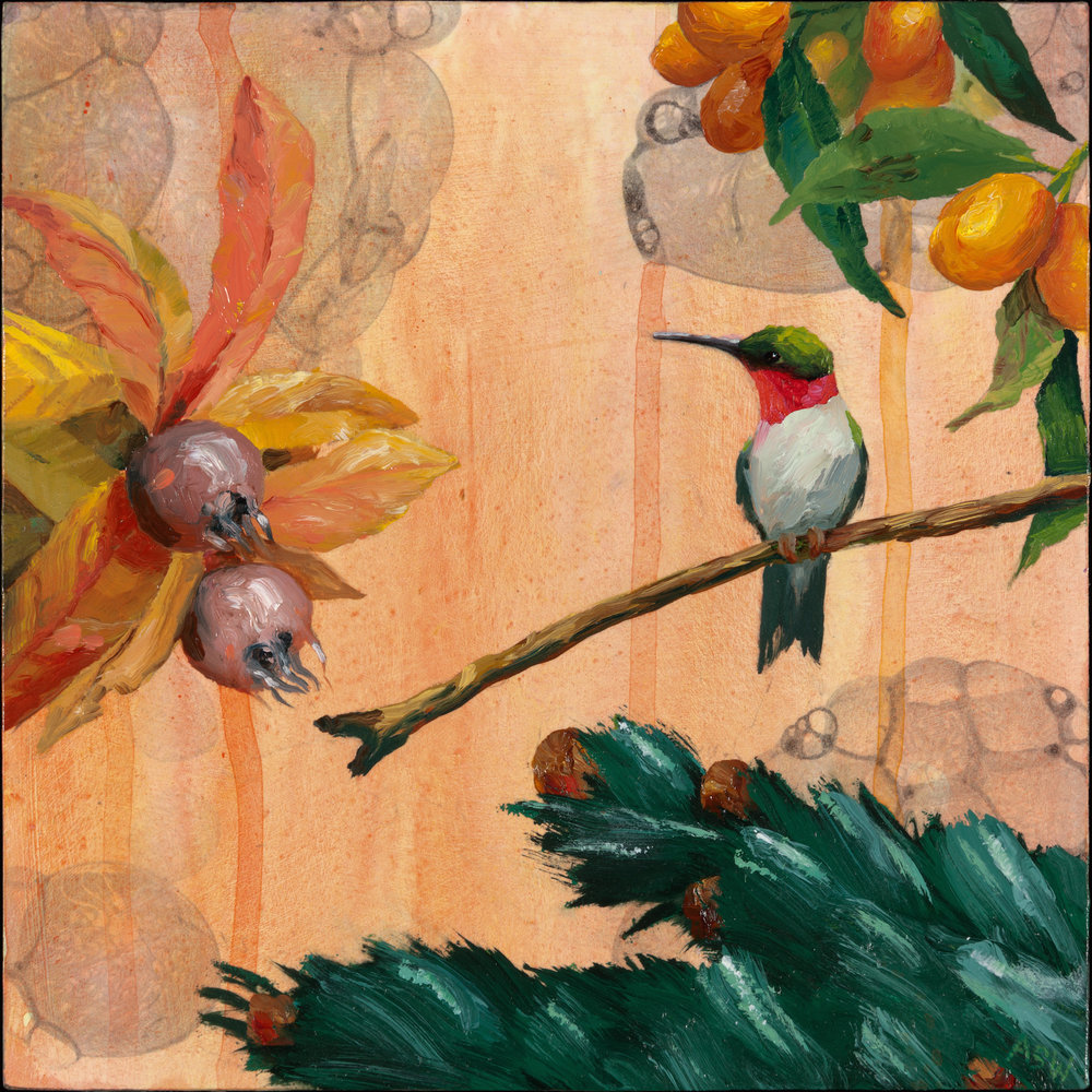"Anne Sargent Walker,   Hummingbird with Fruit,   Oil, acrylic on wood panel, 8"" x 8"", $500"